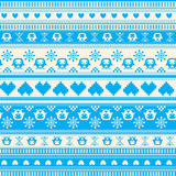 Seamless Winter Sweater pattern with Hearts and Owls Royalty Free Stock Photo