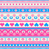 Seamless Winter Sweater pattern with Hearts and Owls. Pink-Blue Stock Images