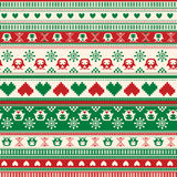 Seamless Winter Sweater pattern with Hearts and Owls. Red-Green Stock Photography