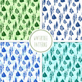 Seamless winter trees pattern set Royalty Free Stock Images