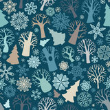 Seamless winter trees pattern. Royalty Free Stock Photos
