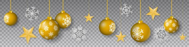 Seamless winter vector with hanging gold colored decorated christmas ornaments, stars and snowflakes on transparent background. Seamless winter vector with vector illustration
