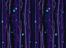 Seamless winter wood forest branches night pattern Stock Images