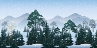 Seamless Winter Woodland Landscape Stock Images