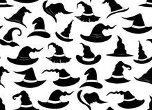 Seamless witch hats. On white Royalty Free Stock Image