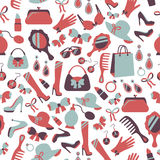 Seamless woman accessories background Stock Images