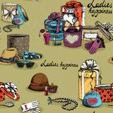 Seamless woman accessory with gift boxes Stock Images