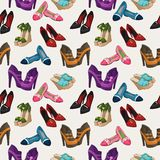 Seamless woman's fashion shoes pattern Stock Photo