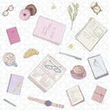 Seamless women`s pattern. Hand drawn illustration in pastel colors work notes, background studying, creative lifestyle. Seamless women`s pattern. Hand drawn Stock Images