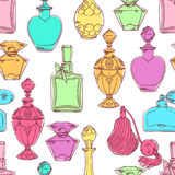 Seamless womens colorful perfume bottles. Beautiful seamless pattern of a variety of womens colorful perfume bottles. hand-drawn illustration Stock Images