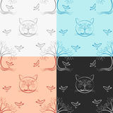 Seamless Wood cat pattern Four color version. Royalty Free Stock Photography