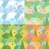 Seamless wood pattern. Background with seasonal forest landscapes Stock Photos