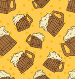 Seamless Wooden Foam Beer Mugs Stock Images