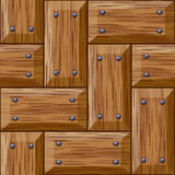 Seamless wooden panel door texture with nails. Background Royalty Free Stock Images
