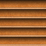 Seamless wooden shelves for product display. Cork surface. Stock Photos