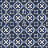 Seamless worn out vintage flower round circle pattern background. Stock Photography