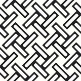 Seamless woven stripes lattice pattern. Modern stylish texture. Repeating abstract background with interlacing lines. Simple monoc. Hrome grid eps10 vector illustration