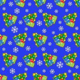 Seamless wrapping paper and colored christmas tree. Wrapping paper, seamless pattern - colored christmas trees with gifts, candles and yellow star in front of a royalty free illustration