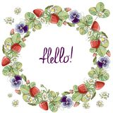 Seamless wreath with floral romantic elements, strawberry and violet. royalty free illustration