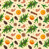 Seamless xmas background. Watercolor Christmas pattern with fir branches, red berries, fir cones, orange, cinnamon, anise, watercolour hand painted seamless Stock Image