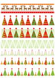Seamless xmas borders. Seamless borders with colorful firs for New Year holidays Royalty Free Stock Photography