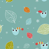 Seamless xmas pattern with owls Royalty Free Stock Photo