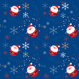 Seamless xmas pattern with santa and snowflakes Royalty Free Stock Photos