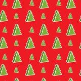 Seamless xmas-tree pattern Stock Image