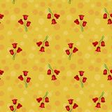 Seamless yellow abstract pattern with circles and red tulips, il. Lustrated stock illustration