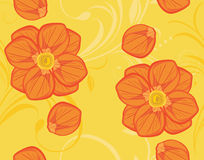 Seamless yellow background with blooming flowers. Illustration Royalty Free Stock Photo
