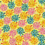 Seamless yellow background with bright  flowers Stock Image