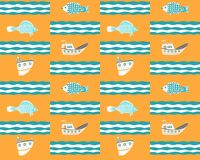 Seamless yellow background with ships, fish and waves stock illustration