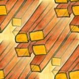 Seamless yellow brown square watercolor handmade Stock Photo
