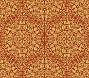 Seamless yellow and dark red floral background. Seamless yellow and dark red floral wallpaper vector background. Vintage damask pattern backdrop Royalty Free Stock Photos