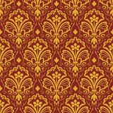 Seamless yellow and dark red floral wallpaper Royalty Free Stock Image
