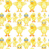 Seamless yellow ducklings in different posts Royalty Free Stock Photography