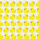 Seamless yellow ducks pattern Stock Photo