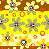 Seamless Yellow Floral Pattern. A hand drawn and completely seamless floral background pattern Royalty Free Stock Photo