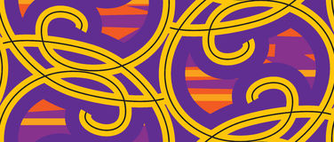 Seamless Yellow Loops. Seamless wallpaper pattern with yellow and purple loops Stock Photography