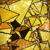 Seamless yellow pattern of triangles volume in vintage style Stock Photos