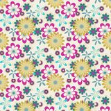 Seamless yellow pink flowers on white background Stock Photography