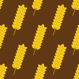 Seamless yellow ripe wheat spikes pattern Stock Image