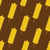 Seamless yellow ripe wheat spikes pattern Stock Image