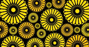 seamless yellow or sun flowers floral background, animate 4k footage clip