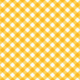Seamless yellow and white diagonal gingham pattern, or fabric cloth. Seamless (you see 4 tiles) yellow and white diagonal gingham fabric cloth, pattern, swatch vector illustration