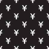 Seamless Yen Currency pattern on black Royalty Free Stock Photography