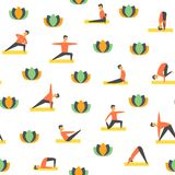 Seamless yoga poses asamas pattern. Vector people fitness Royalty Free Stock Images