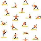 Seamless yoga poses asamas pattern. Vector people fitness Stock Photos