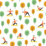 Seamless yoga poses pattern. Vector people in park, sport illustration. Stock Images