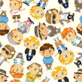Seamless young boy pattern Royalty Free Stock Image